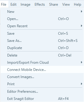 snagit-interface-showing-connect-mobile-device-option