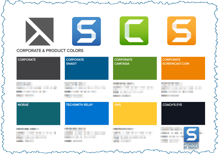 visual communication - TechSmith brand guidelines - logos plus colors