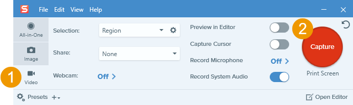 snagit all in one capture interface screenshot