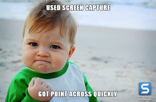 Meme made with Snagit, success baby used screen capture, got point across quickly