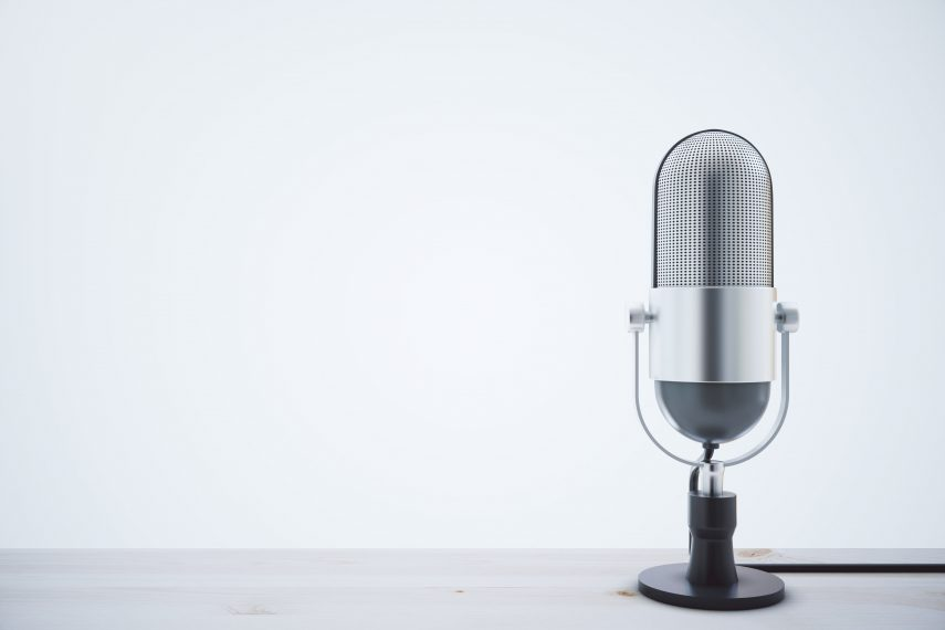 microphone sitting on a desk