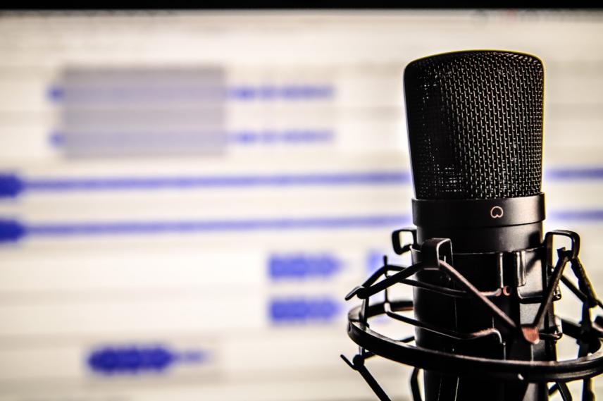 Mikrofon vor dem Computerbildschirm