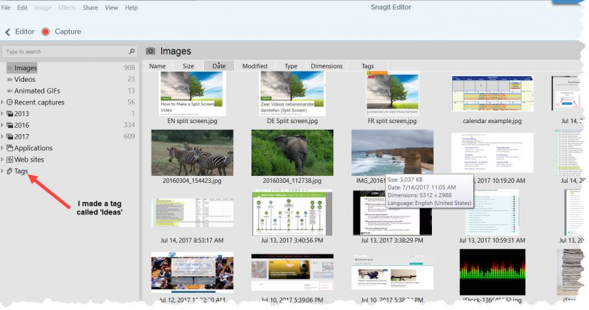 Screenshot meiner Snagit Bibliothek