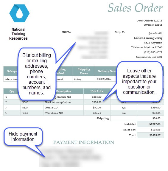 sales order with example of an edited screenshot