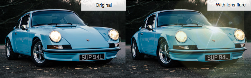 two contrasting images of cars that show an original image and one with an applied lens effect
