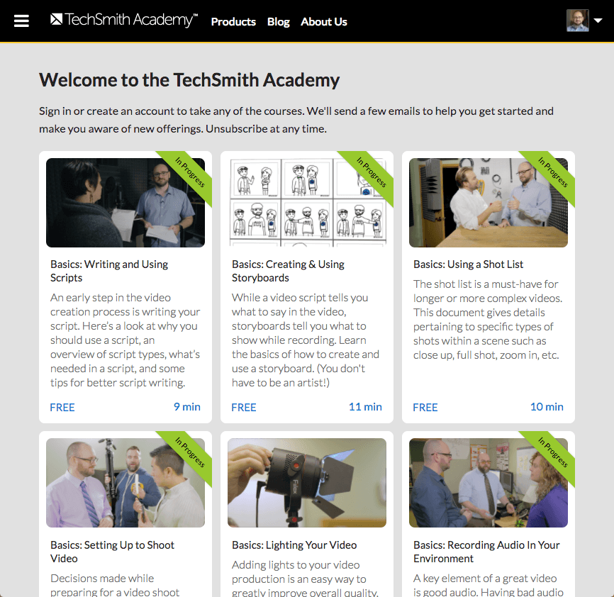 TechSmith Academy home page