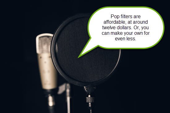 Pop filters are affordable, at around twelve dollars. Or, make your own for even less.