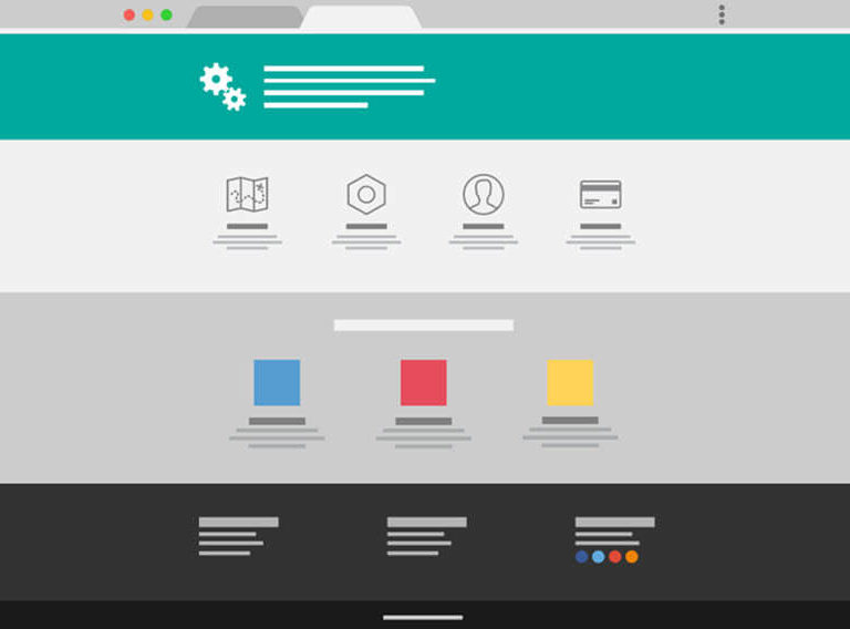 Mocked-up website with a simplified user interface