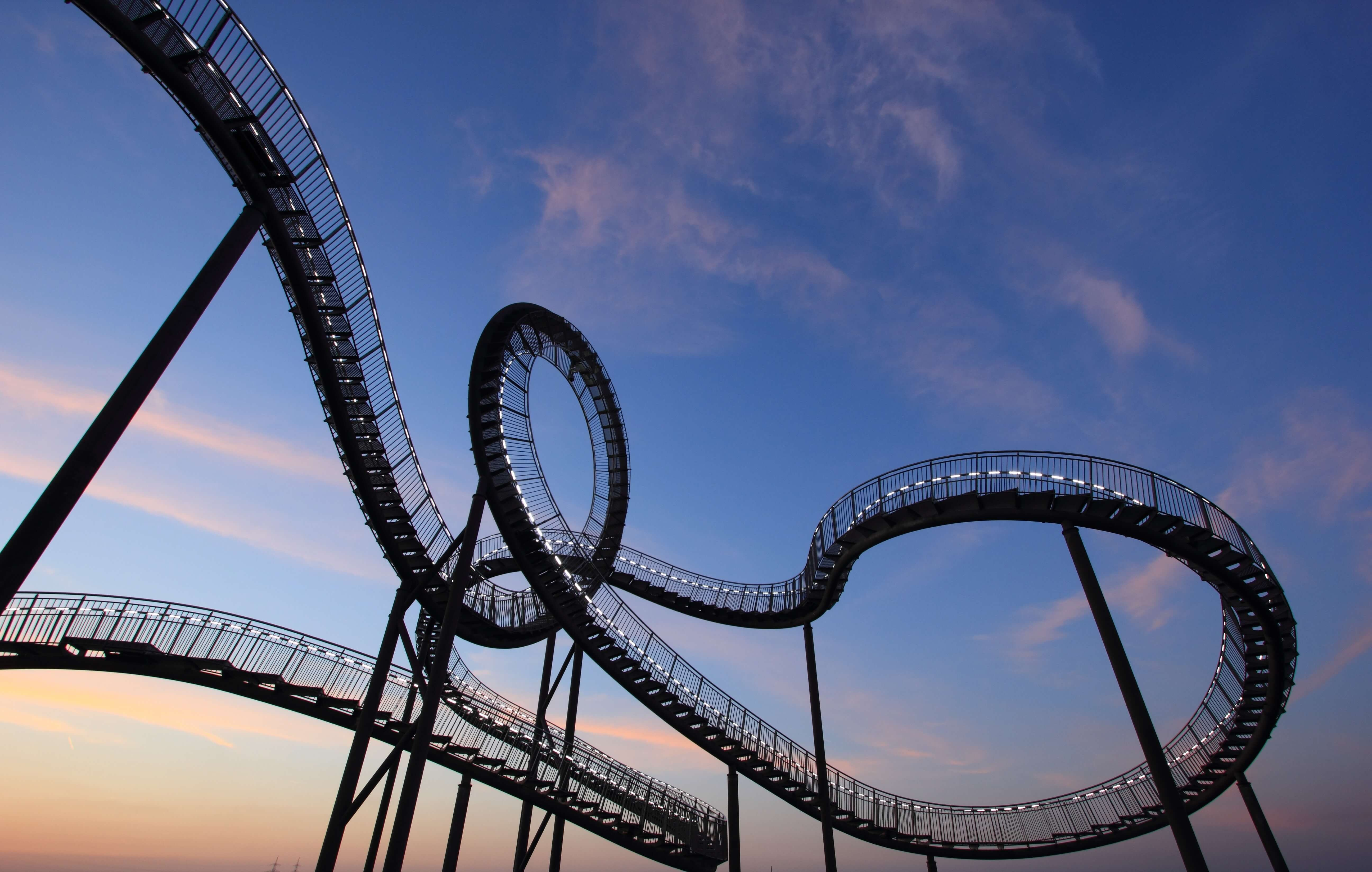 picture of a roller coaster with lots of twists and turns.