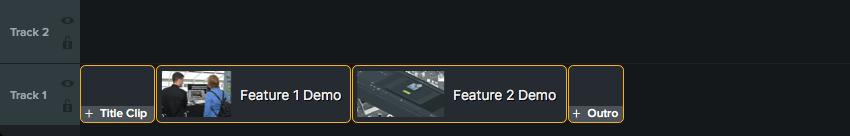 Timeline showing a video consisting of four unique content blocks