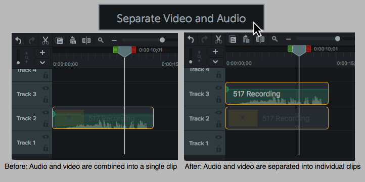 A clip's audio and video can be separated into two individual clips in most video editing software