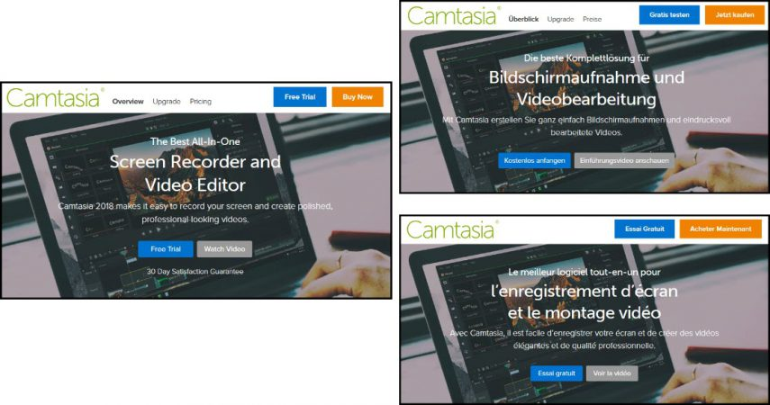 Screenshots of Camtasia web page in three different languages
