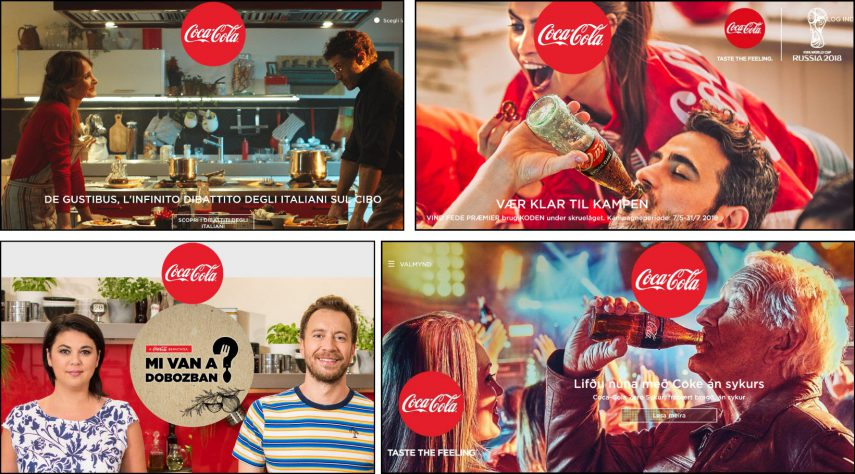 Screenshots of four different Coca Cola advertisements in various languages