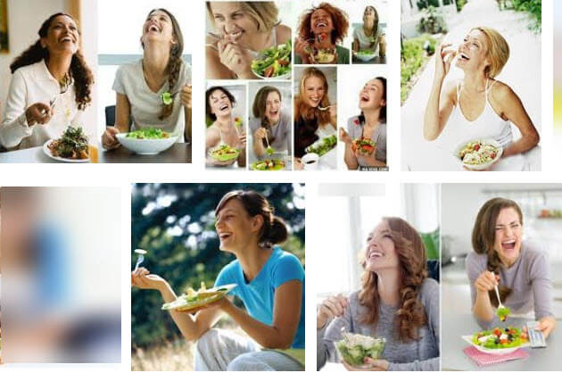 collection of photos of women laughing at their salads representing photos as a type of visual content