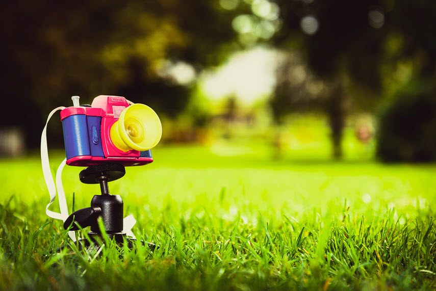 toy video camera sitting in grass