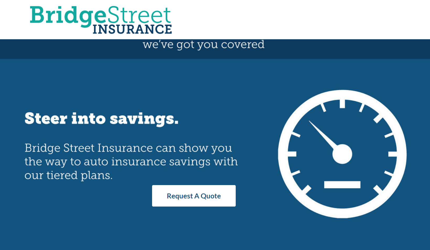 Screenshot of a web page for Bridge Street Insurance featured a Request a Quote call to action button