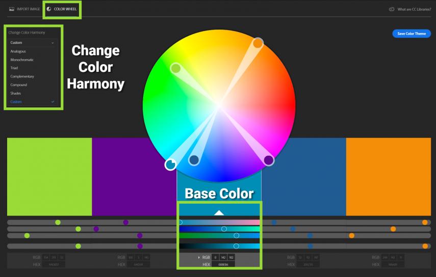 Screenshot of Adobe CC Color Wheel feature
