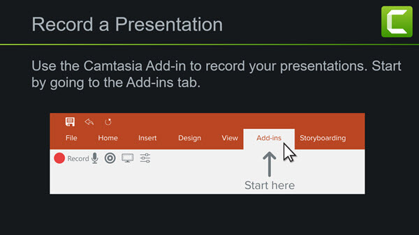 screenshot showing the Camtasia add-in toolbar