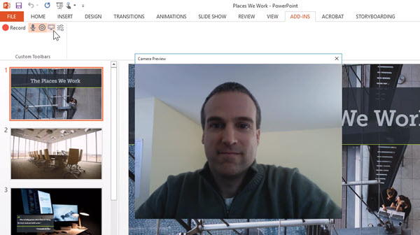 Screenshot showing the webcam while recording a presentation with the Camtasia PowerPoint Add-in Toolbar