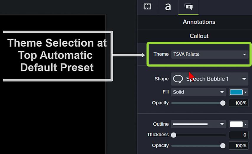 Camtasia screenshot of theme feature