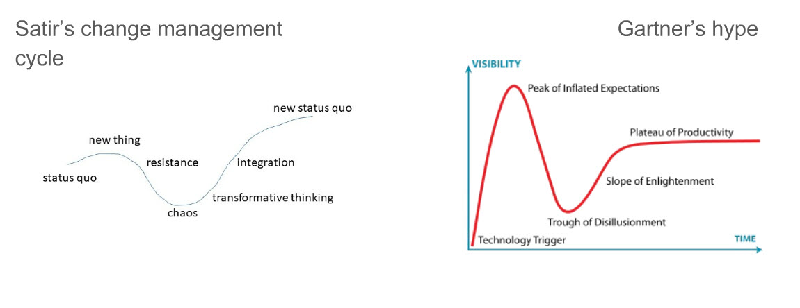 Innovation in terms of Virginia Satir's change management model and the well-known Gartner Group hype cycle
