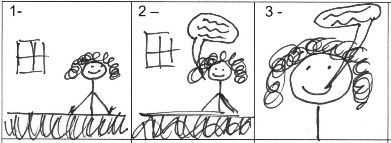 Storyboard example. The first frame shows a woman sitting behind a desk. She second frame shows her behind the desk and speaking. The third frame shows her in close-up and speaking.