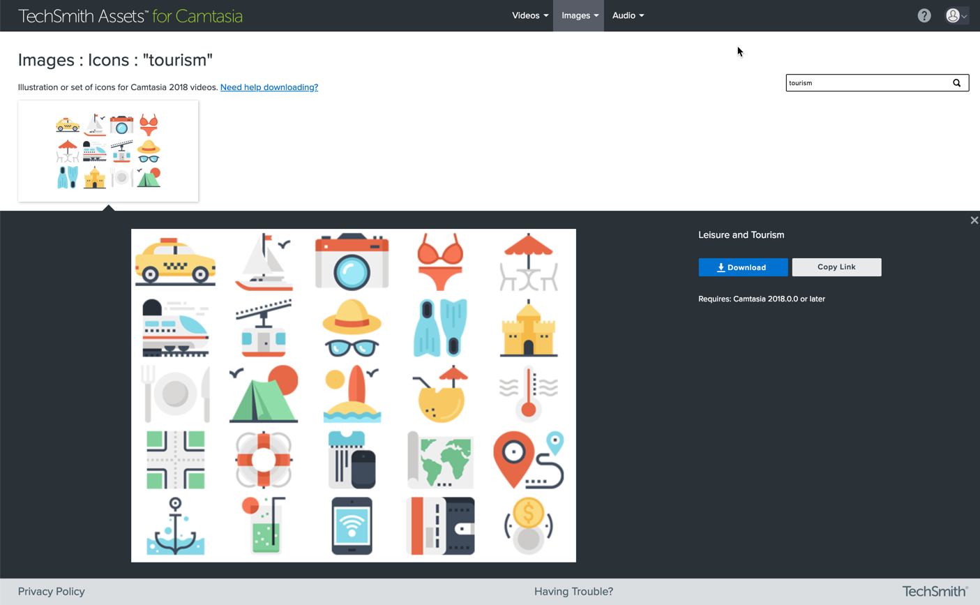 downloading media from TechSmith Assets for animated explainer video