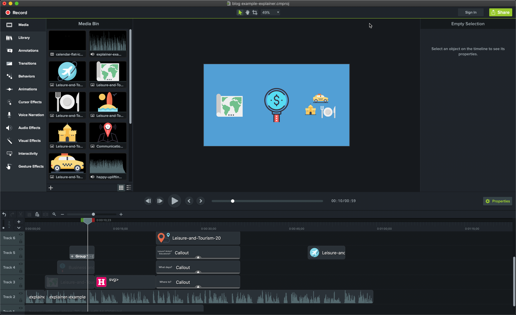 editing media for an animated explainer video in Camtasia