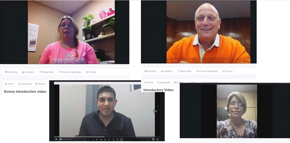 Examples of welcome videos from instructors who engage online students