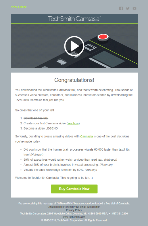 Beispiel, wie TechSmith mit Hilfe von Video-Thumbnails in E-Mails die Conversion Rate optimieren konnte.