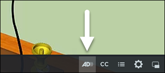 Screenshot of what video looks like once an audio description track is included, with the AD icon