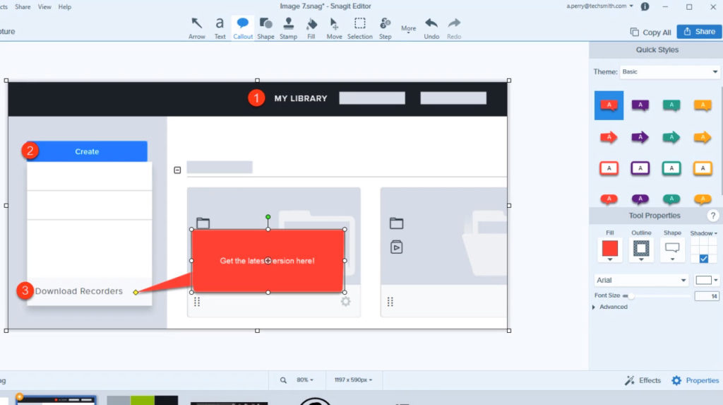 Snagit interface in action, with a screenshot, callouts, and step tool