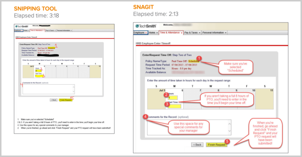 snagit vs snipping tool time comparison