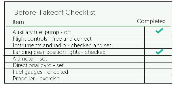 Job aid example - flight pre-takeoff checklist