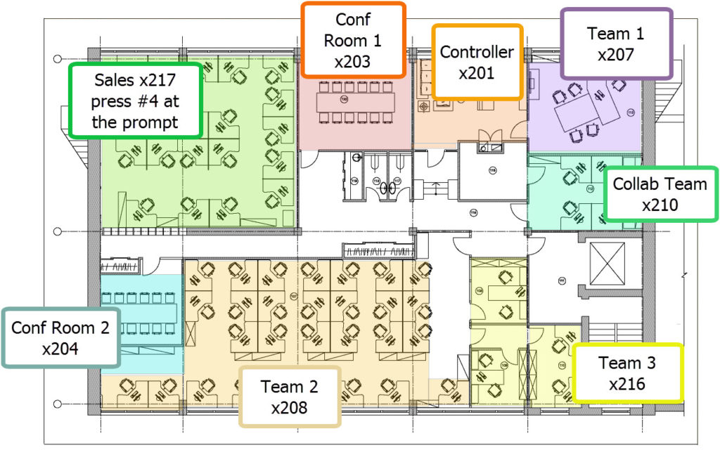 Job aid example - office floorplan, color-coded, with phone number extensions