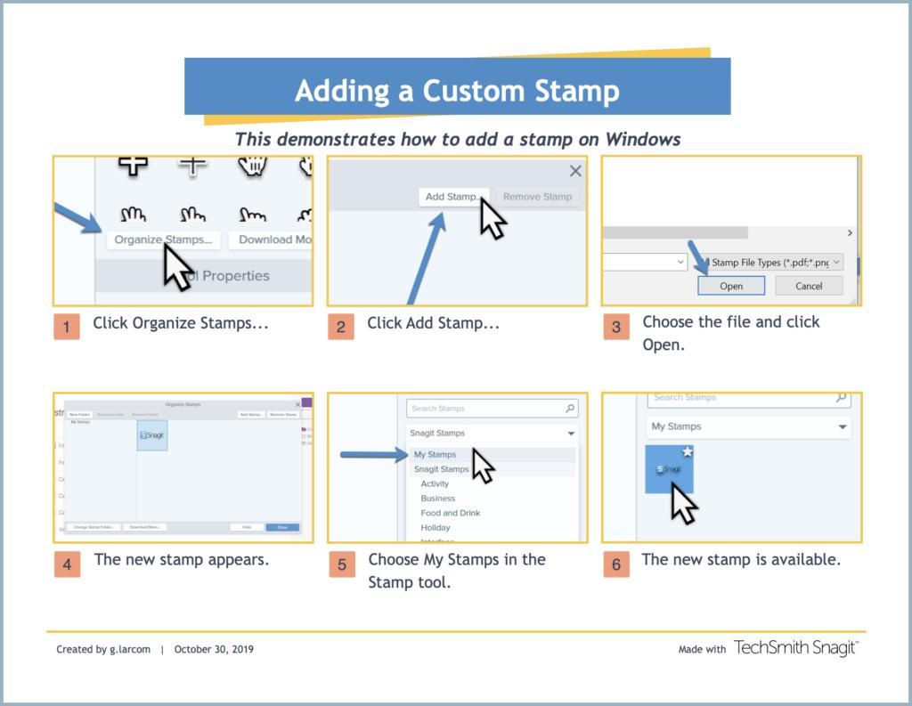 screenshot of adding a custom stamp in Snagit