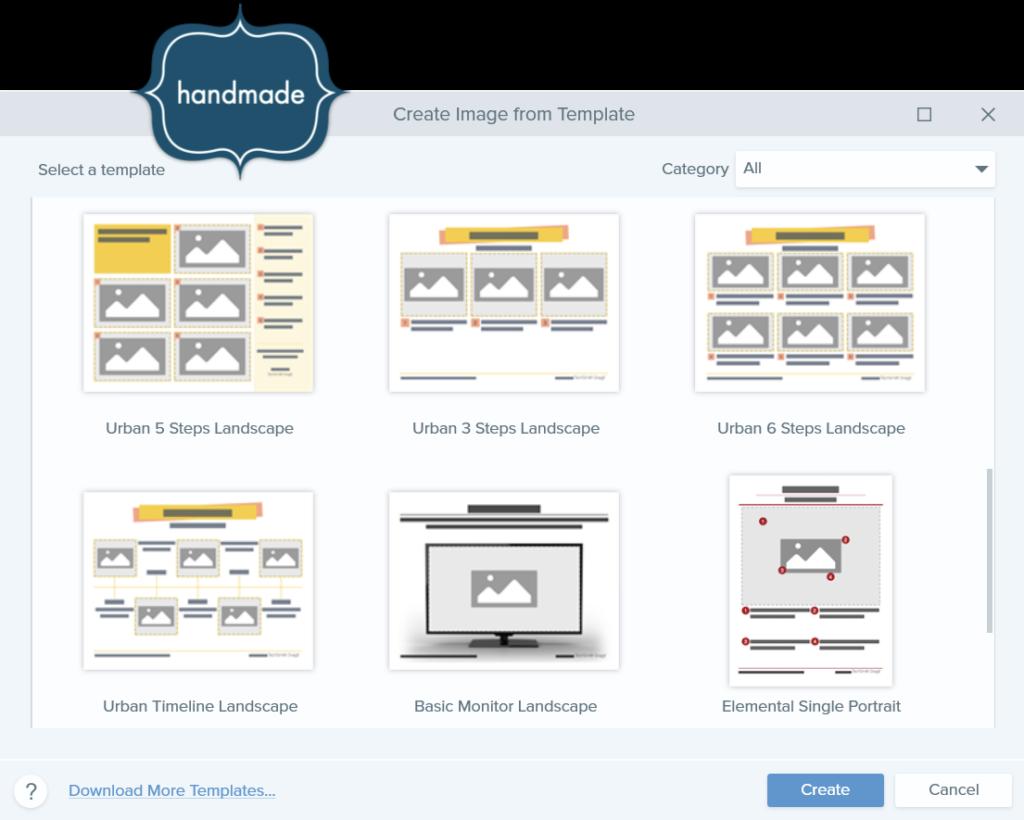 screenshot of the Create Image from Template menu in Snagit