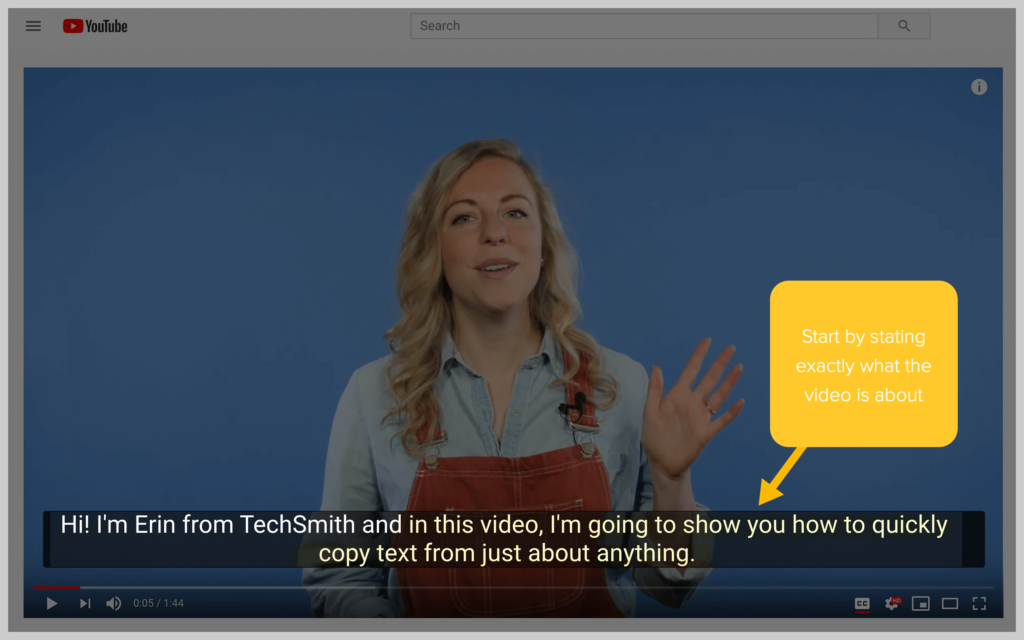 screenshot of techsmith youtube video with captions