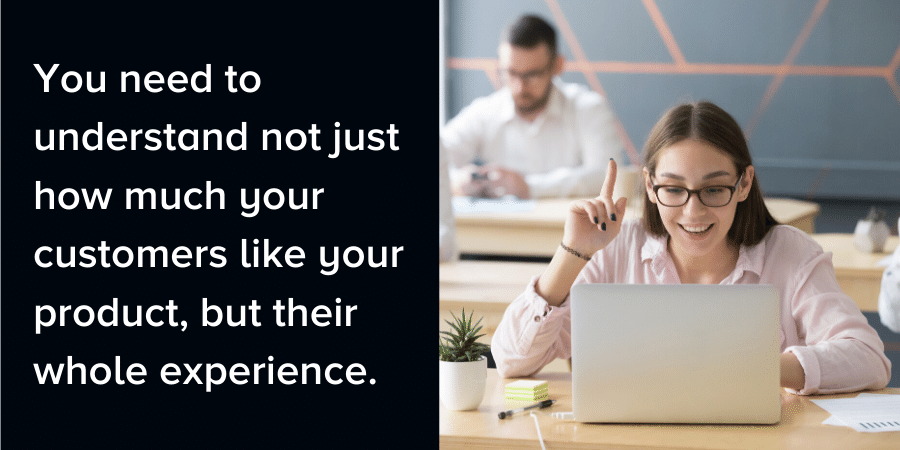 """Woman at a computer. Caption reads, """"You need to understand not just how much your customers like your product, but their whole experience."""""""
