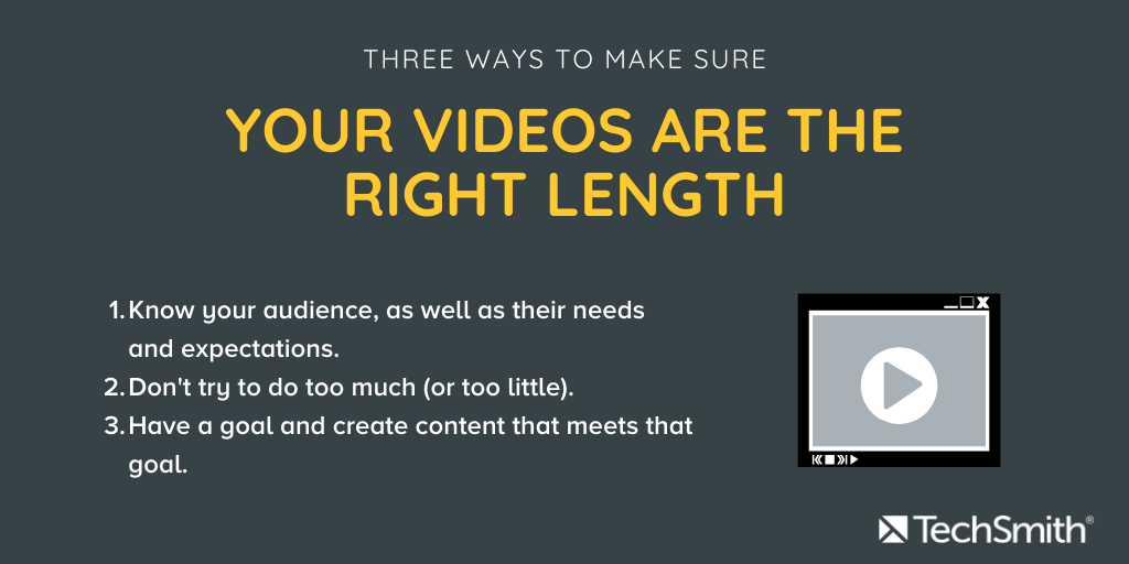 Three ways to make sure your videos are the right length. Text is the same as the paragraph below.