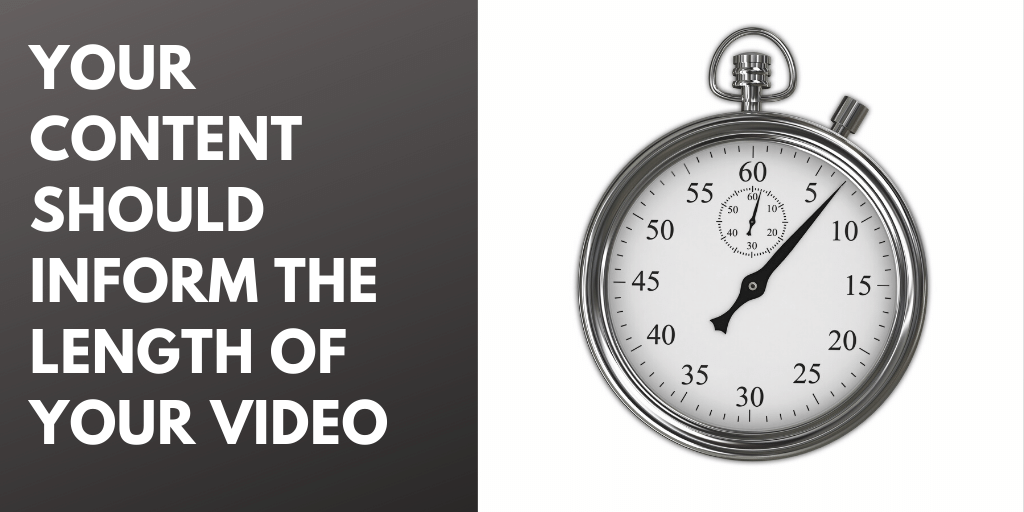 """Image of a stopwatch with the caption, """"Your content should inform the length of your video."""""""