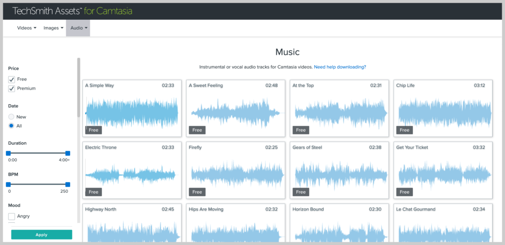 screenshot of the music in TechSmith Assets
