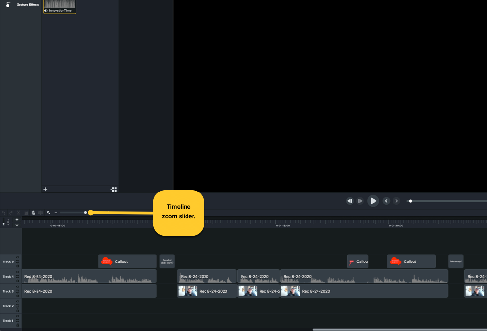 Showing the location of the Camtasia timeline zoom slider in the lower left corner of the Camtasia window, just above the timeline.
