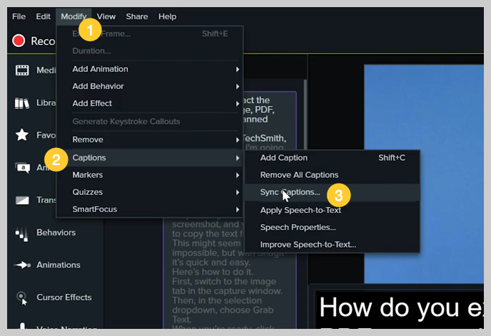 screenshot of how to add a subtitle or caption to a video in camtasia step 9