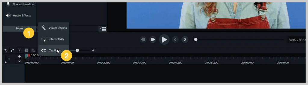 screenshot of how to add a subtitle or caption to a video in camtasia step 5