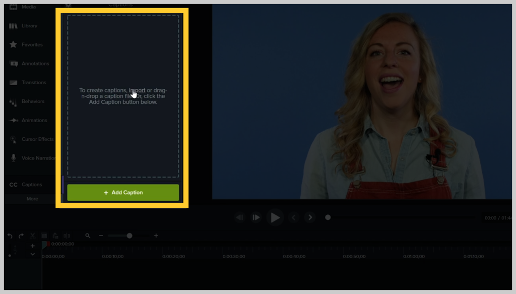 screenshot of how to add a subtitle or caption to a video in camtasia step 6