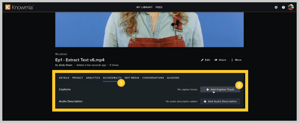 screenshot of how to add a subtitle or caption to a video in knowmia step 1