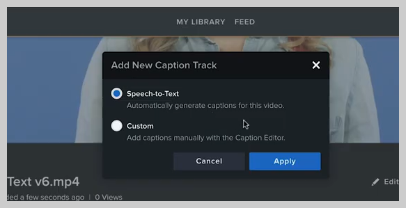screenshot of how to add a subtitle or caption to a video in knowmia step 2