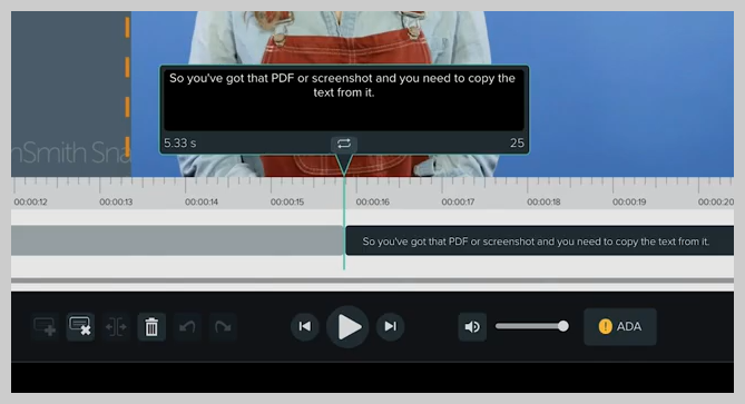 screenshot of how to add a subtitle or caption to a video in knowmia step 4