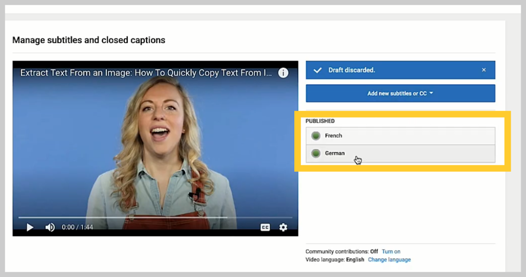 screenshot of how to add a subtitle or caption to a video in youtube step 1